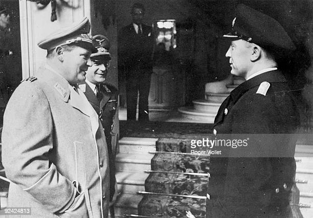 """World War II. Marshal Goering congratulating the Captain of the submarine """"Prien"""" for his victories. Paris, Ritz hotel, on February 22, 1941. ."""