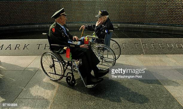 World War II Memorial Washington DC World War II veterans Major Ralph Bud Clark with the US Army Combat Engineering Battalion of Louisville Kentucky...
