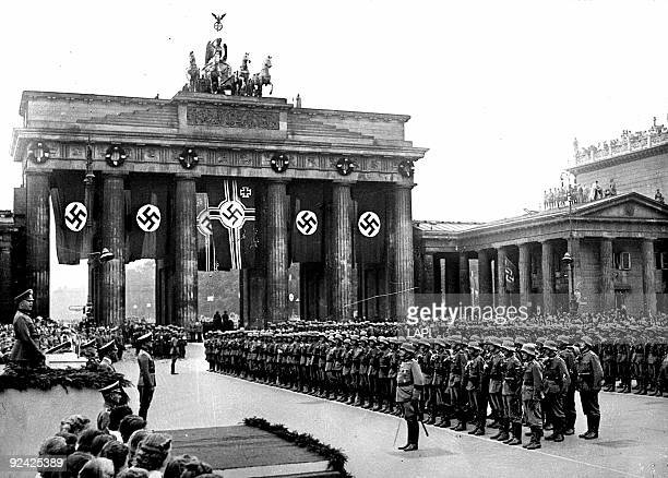 World War II. Military review in Berlin, at the Brandenburg Gate.