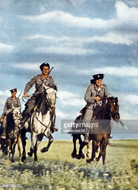 World War II Mounted Cossacks as German auxiliary forces on the Eastern Front during World War II 1943 Published by 'Signal' 7/1943 Vintage property...