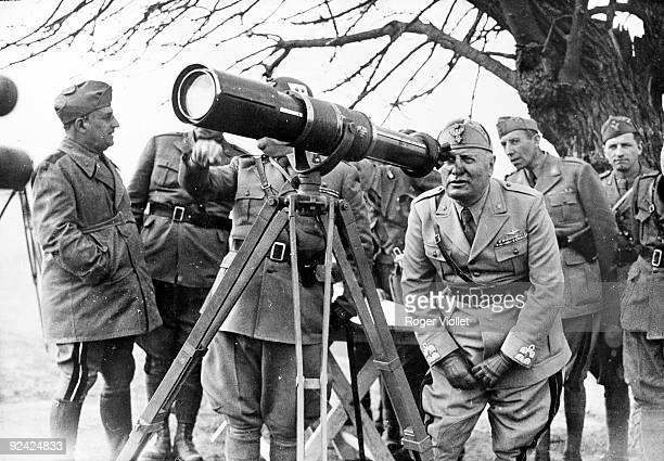 World War II. Mussolini on the Greek front, observing the Italian troops on the Narta Mount, March 2-20, 1941.