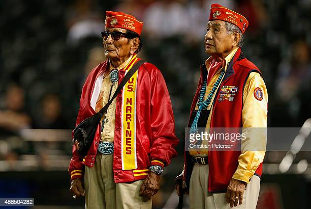 World War II Navajo code talkers for the Marine Corps are honored before the MLB game between the Arizona Diamondbacks and the Los Angeles Dodgers at...