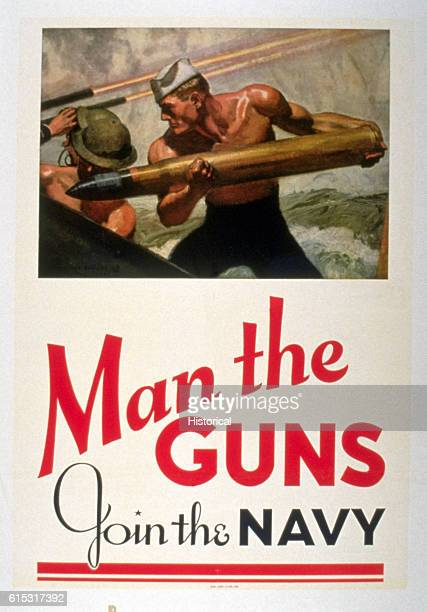 A World War II Navy recruitment poster reading 'Man the Guns Join the Navy' Designed by McClelland Barclay 1942