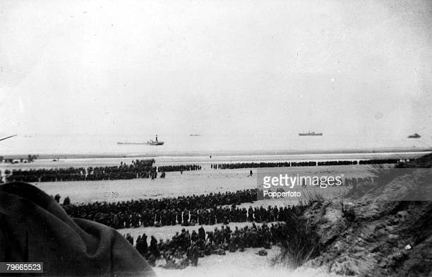 World War II Nazi Invasion of France Dunkirk Leaving the dunes of Dunkirk 5th June 1940 British troops on a beach near Dunkirk forming into long...