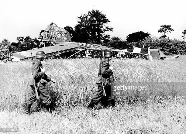 World War II. Normandy landings. English gliders shot down in the night of June 6, 1944.