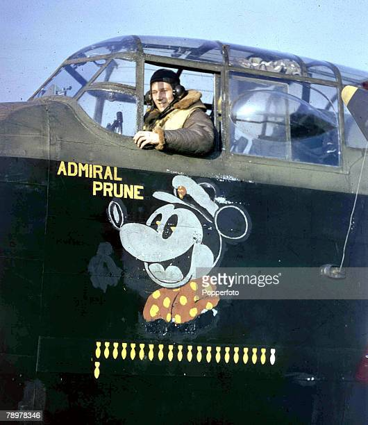 World War II November 1942 The pilot in the cockpit of his Lancaster bomber Admiral Prune prior to takeoff