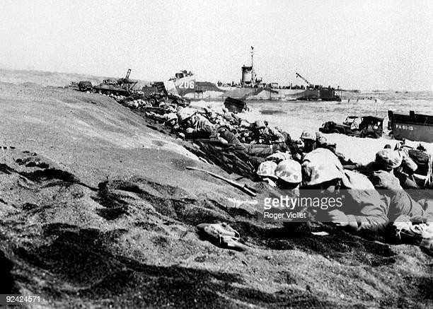 World War II Pacific front Battle of Iwo Jima Landing of marines on D Day Febuary 19 1945