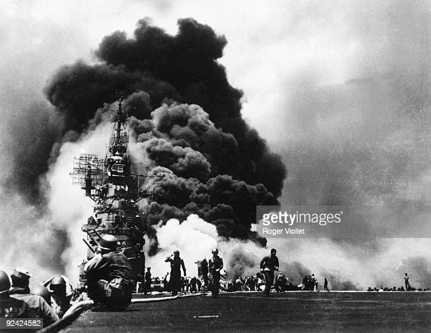 World War II Pacific front The American aircraft carrier Bunker Hill after the attack of two kamikazes May 11 1945