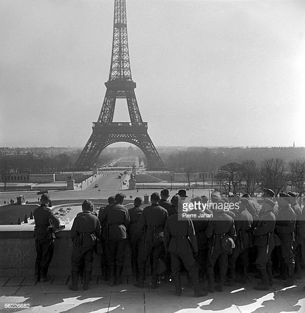 World War II Paris under the Occupation German soldiers on the Trocadero esplanade admiring the Eiffel tower