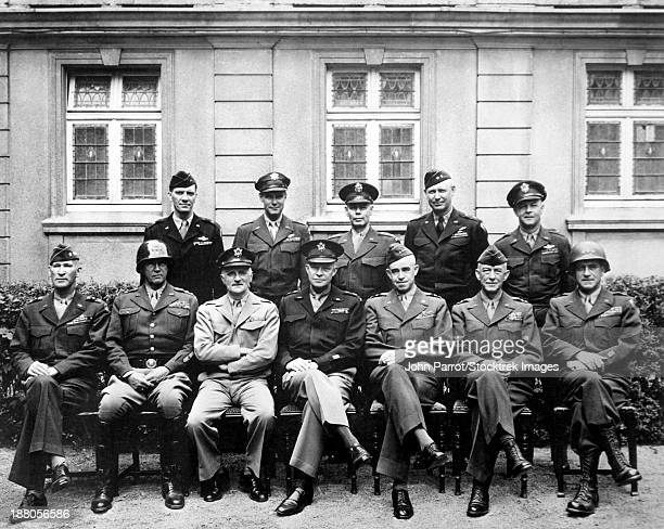 world war ii photo of the senior american military commanders of the european theater. - george patton stock pictures, royalty-free photos & images