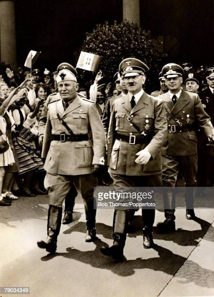 World War II Politics 18th June 1940 Munich Germany German Chancellor and Nazi dictator Adolf Hitler right with the Italian fascist leader Benito...