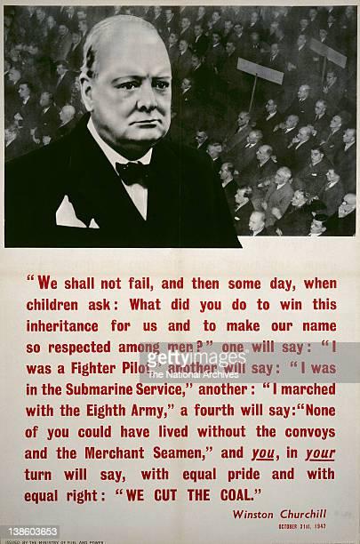 World War II poster Churchill We Cut The Coal message