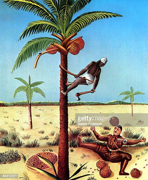 A World War II poster from Africa depicts a local man climbing an oil palm tree and dropping the fruit onto Adolf Hitler's head circa 1943 Poster by...