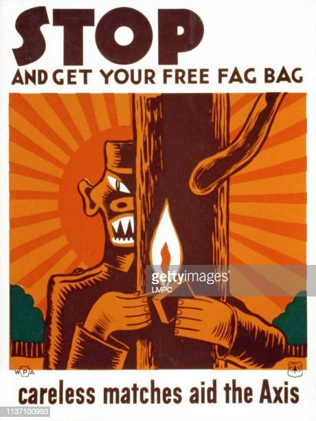 World War Ii, poster, Poster encouraging use of 'fag bag' for disposal of matches, showing stylized Japanese soldier standing behind a tree with a...