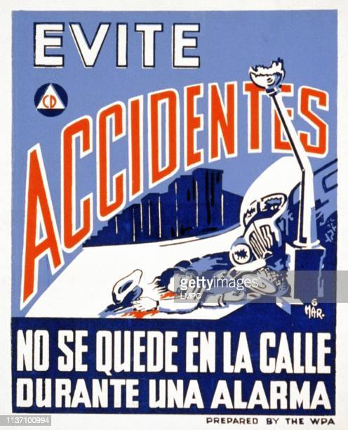 World War Ii poster poster showing a man lying on the sidewalk next to an automobile crashed into a lamp post text reads 'Evite accidentes No se...