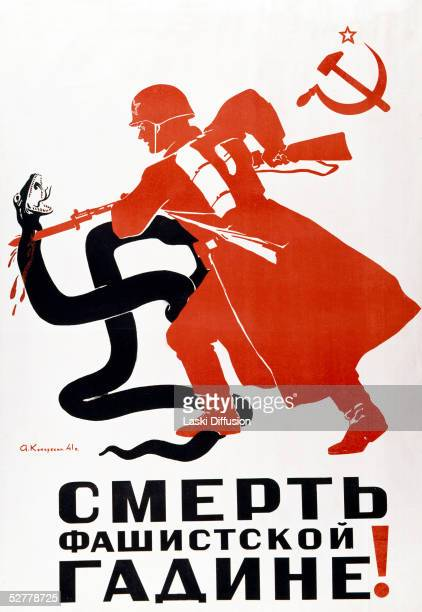 World War II propaganda poster depicting a Russian soldier killing a huge swastika shaped serpent with his bayonet 1941 The caption reads 'Death to...