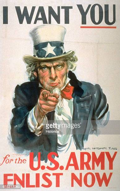 A World War II recruiting poster featuring Uncle Sam and the words 'I Want You' Designed by James Montgomery Flagg | Located in Library of Congress