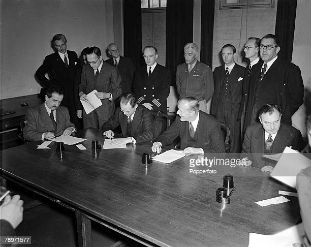 World War II Representatives of the four Allied powers requiring agreement establishing a Military Tribunal for the trial of European War criminals...