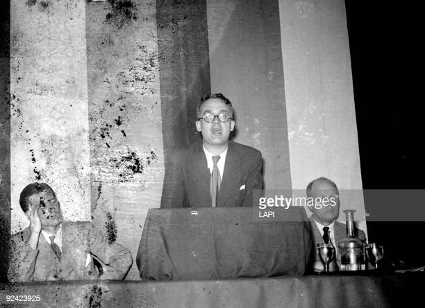World War II Robert Brasillach and Pierre Drieu La La Rochelle French writers Paris meeting of the French Popular Party May 1943