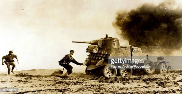 World War II Russia A picture of German troops attacking a Russian tank during the battle for Stalingrad
