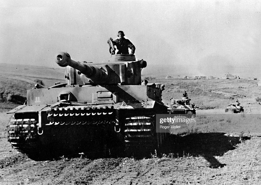 World War II. Russian front. Battle of Kursk. German Panzer VI Tiger between Bielgorod and Orel, July 1943.