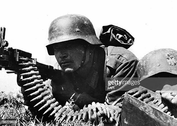 World War II Russian front German machine gunner April 1943 Roger Viollet via Getty Images13703