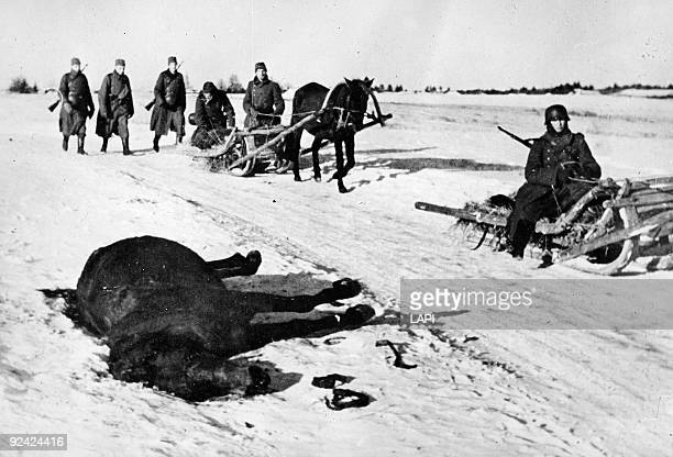 World War II Russian front German soldiers on sleighs late 1941