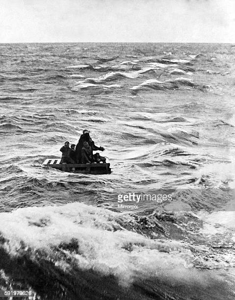 World War II Shipping: Survivors on their raft after their ship was sunk following an attack by Geman U-boats on an Atlantic Convey. October 1942...