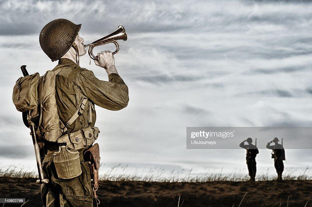 World War II Soldier Playing Taps : Bildbanksbilder