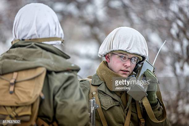 World War II: Soldier with Walkie Talkie in the Snow