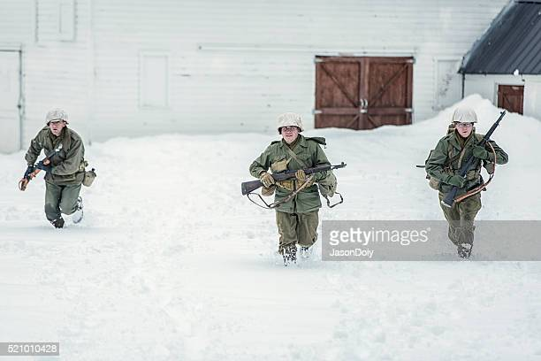World War II Soldiers in the Snow on Patrol