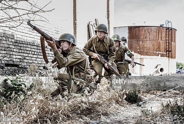 World War II Soldiers Looking for the Enemy