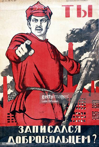 A World War II Soviet propaganda poster by D Moor from 1941 exorting citizens to work for the war effort The text reads 'Are You A Volunteer' Laski...