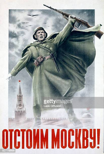 A World War II Soviet propaganda poster by N Zhukov and V Klimashin depicting a Red Army soldier circa 1941 The text reads 'Let's Fight For Moscow'...
