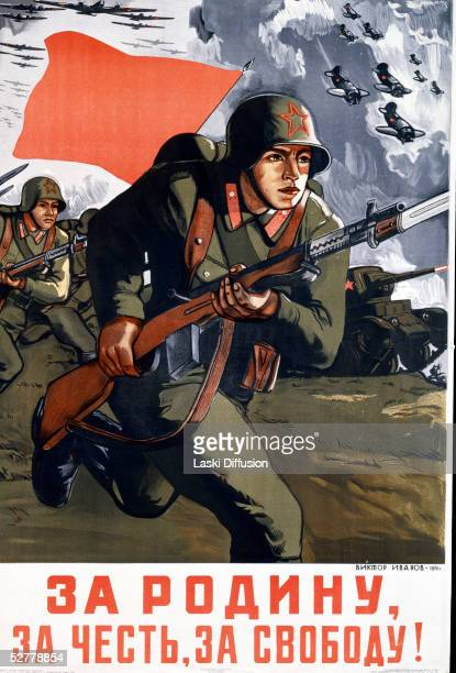 A World War II Soviet propaganda poster by V Ivanov depicting the Red Army and air force on the attack 1941 'For The Motherland For Honour For...