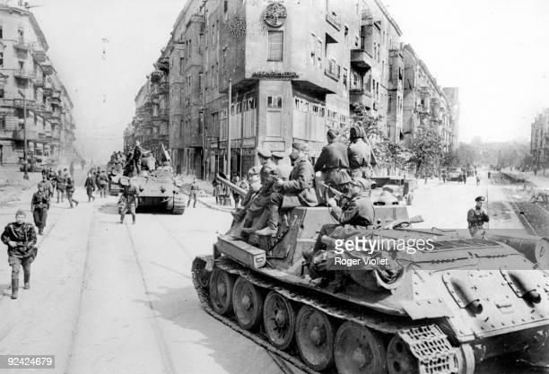 World War II. Soviet tanks in Berlin , 1945.