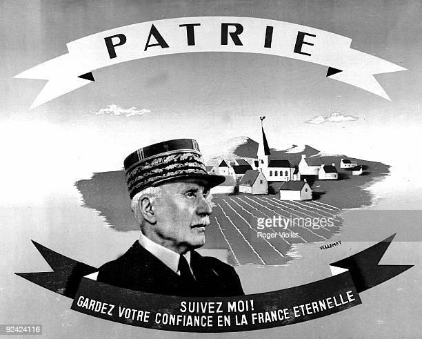 """World War II. """"Suivez-moi ! Gardez votre confiance en la France éternelle"""". Poster by Villemot, 1940."""
