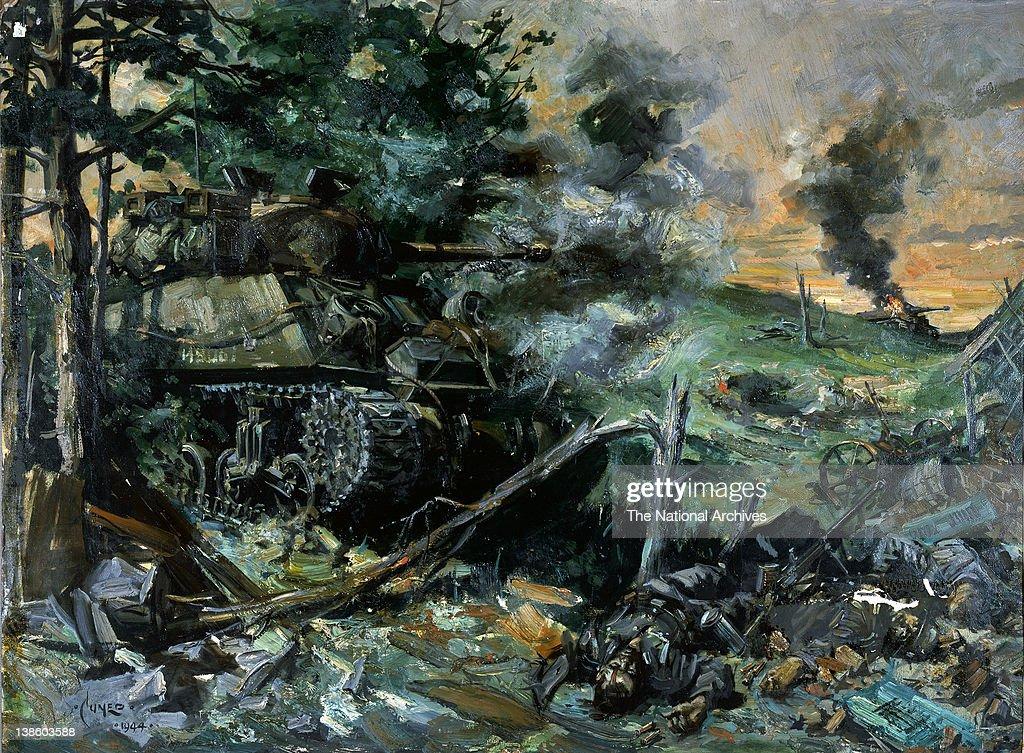 World War II tank battle - Artist Terence Cuneo News Photo - Getty