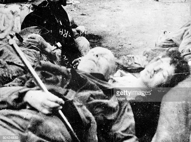 World War II The corpses of Mussolini and his mistress Clara Petacci after they were hung Milan on April 29 1945