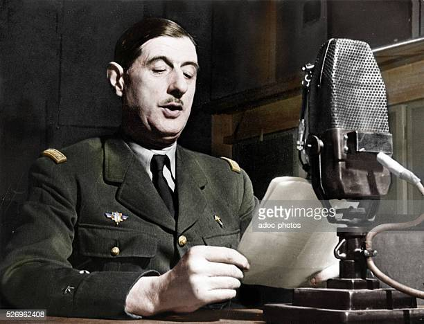 World War II The general Charles de Gaulle in the studio of the BBC at London On June 18th 1940 Coloured photograph