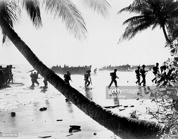World War II The Pacific front The 40th American division training for landings on the beaches of Guadalcanal January 1944