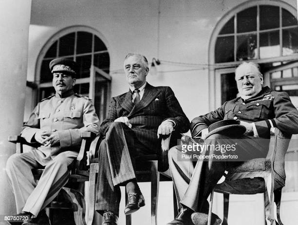 "World War II, The Tehran Conference, pic: November / December 1943, The ""Big Three"" L-R: Russia's Joseph Stalin, U,S,A, President Franklin Roosevelt..."