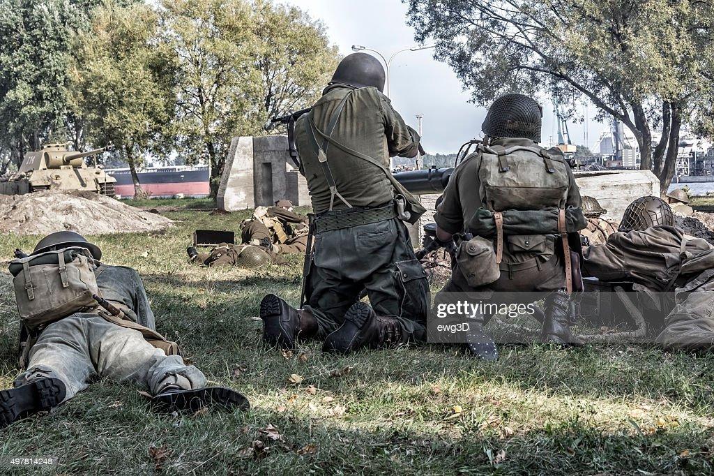 World War II-nos soldados de infantaria : Foto de stock
