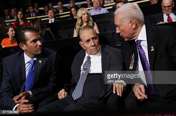 World War II veteran and former Sen Bob Dole along with Donald Trump Jr and Senate Finance Committee Chairman Orrin Hatch talk during the first day...