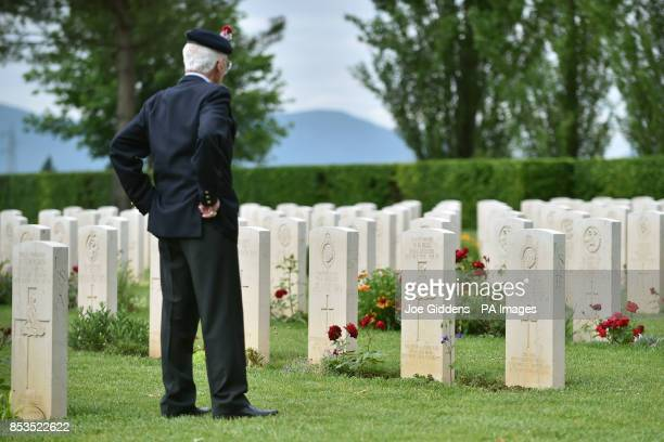 World War II veteran Tony Iacoppi from Enfield takes a moment to reflect as he walks through British war graves in the shadow of Monte Cassino Abbey...