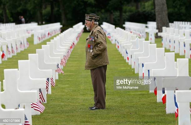 World War II veteran William Spriggs of the 83rd Infantry Division and who took part in the invasion of Normandy searches for fallen comrades in the...