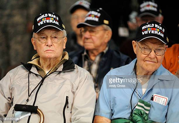 World War II Veterans were gathered at the Signature Flight Support hanger at Denver International Airport before their flight to Washington DC...