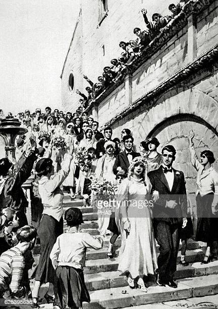 World War II Wedding celebration at the same time of various Italian couples Engraving