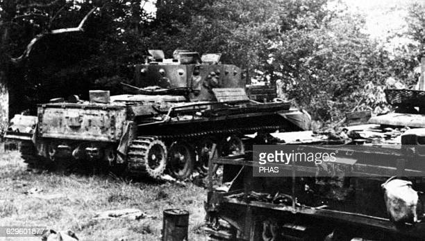 World War II Western Front Normandy June 1944 AngloAmerican tanks destroyed Around Caen