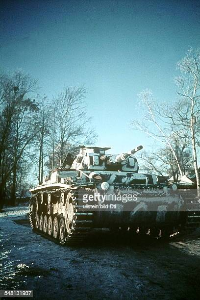 World War II White camouflage tank of the German army group centre on the Eastern Front winter 1941/42 Vintage property of ullstein bild